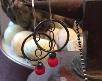 Boho Red Coral Hand Forged Raw Sterling Silver - Oxidized - Hoop and Dangle Earrings - Boho Style