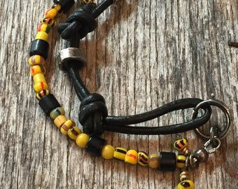 Anklet - African Trade Beads - Sterling Silver - Black Onyx - Rustic Anklelt - Black Leather -Sundance Style