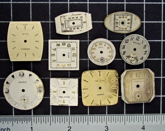 Mixed Lot of 10 Vintage round and Square Watch Faces, Dials, Clock Fronts, Painted or Enameled Pocket Watch Faces Steampunk Supplies 04180
