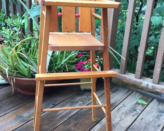Vintage Doll high chair ATF wood doll chair with tray