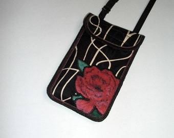 iPhone 6 Case Neck Purse Mini Crossbody Bag Elegante Smartphone Cover Handmade Phone Pouch fabrics purse Black White Red red with roses