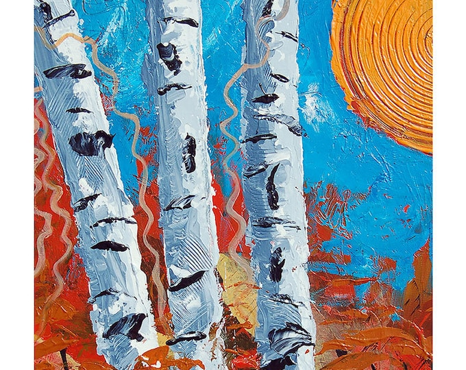 Abstract Tree Art Print, Birch Bend Autumn Poster Print in 6 different sizes