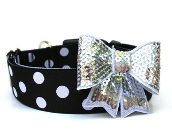 """Dog Collar Bow Add-On Silver Bow For Dog Collar FOR 1"""" BUCKLE COLLAR"""