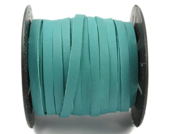 15 Ft - 5mm Flat Leather Cord - Turquoise - Deertan Lace Water Resistant