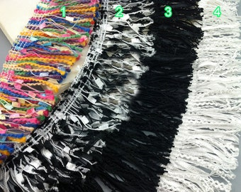 "5 yard 5cm 1.96"" wide black/ivory tassels fringe lace trim ribbon ijsm free ship"