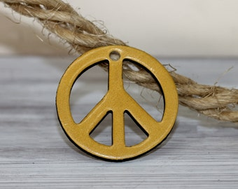Peace Sign Pendant ,Mustard  Yellow Genuine Leather  Pendant