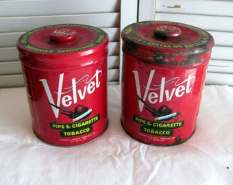 2 Velvet Pipe & Cigarette Tobacco Tins / Vintage Red Velvet Tobacco Cans