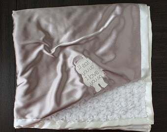 baby blanket, wild things, i'll eat you up, custom baby blanket, custom embroidery, custom minky, silky blanket, baby boy, baby girl, baby