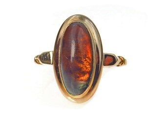 Arts & Crafts Era 14k Gold Citrine Cabochon Ring Size 7