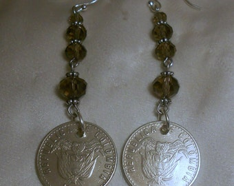 Colombia  Coin Earrings 1992 1993