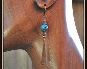 Blue Porcelain Earrings, Trinity Brass Earrings, Porcelain and Brass Dangle Earrings, Etched Brass Dangle Earrings, Victorian Drop Earrings