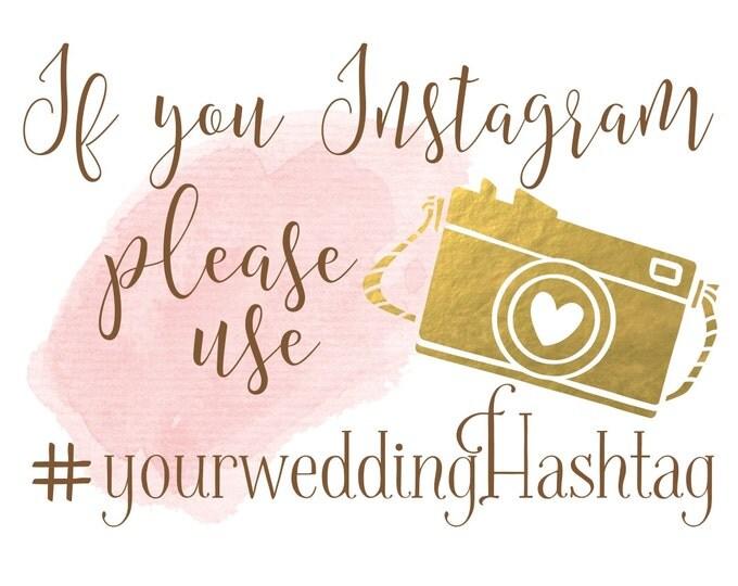 Boho Chic Wedding Sign | Wedding Hashtag Sign | Personalized Instagram PRINTABLE
