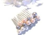 Pearl Hair comb,  Pink Gray and White  Bridesmaid Hair Accessory, Girls Hair comb, Wedding Hair Jewelry, Bridesmaid Pearl Hair comb