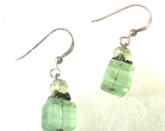 Vintage Natural Green Fluorite Cube Earrings - No. 1649