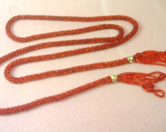 Vintage Hand Crochet Red Beaded Rope  - 56 Inches including Tassels - No. 1698