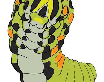 Surreal Caterpillar Sticker - Gift - Art - New Year