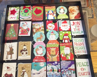 57 Little Folded Christmas Tags, Assortment, Different Sizes Below