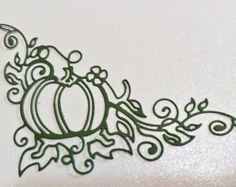 """Lacey Pumpkin Corner Flourish, Green, 4 1/4"""" x 3 1/4"""", Sizzix, Handmade, Die Cuts, Paper Cuts, Embellishment,"""