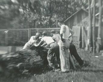 Log Rolling - Vintage Snapshot Photo - Motion - Action - Blur - 1939 - Found Vernacular - Black & White Paper Ephemera