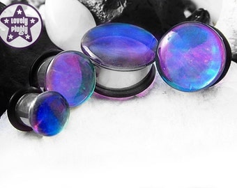 "Photon Blue Green Purple Plug / Gauge Colour Flash Faux Dichro Dichroic Translucent 3/4"", 7/8"", 1"" / 19mm, 20mm, 22mm, 24mm, 25mm"