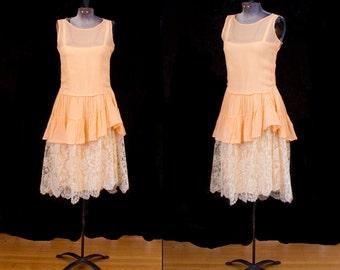 1920s Dress // Sherbet Peachy Orange and Antique Lace Flapper Dress