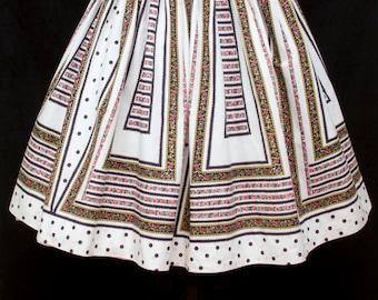 1950s Skirt // Polka Dot Floral Stripe Cotton Pleated Full Skirt