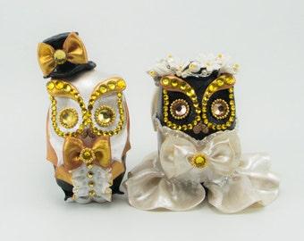 MINI OWL cake topper weddings black&white handmade bride and groom