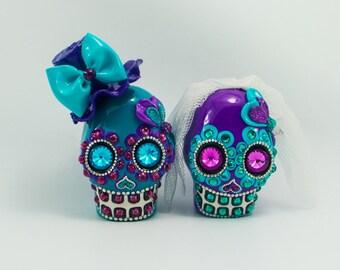 Skull weddings cake topper handmade darker teal & purple bride and groom