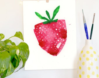 Watercolor Art Print, Abstract Art, Fruit, Strawberry, Childrens Decor, Nursery Art, Painting, Modern Art, Expressionist, Minimalist
