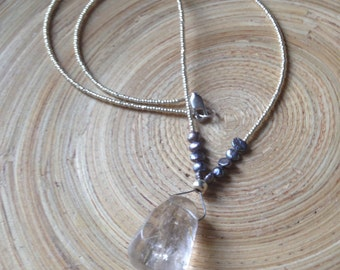 Rutilated quartz necklace with fresh water pearls and silver glass beads 19""