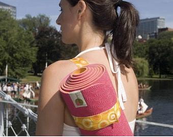 Half off! Lotuspad yoga mat carry strap - Orange Circles - yoga tote - yoga bag - like Lululemon Prana yoga accessories yoga gift