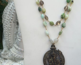 Ganesha/Om Double Strand Necklace