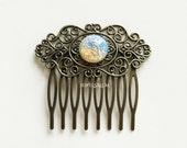 Wedding Hair Comb Bridal Hair Comb Fire Opal Jewelry Harlequin Opal Headpiece Antique Brass Silver Gold Rustic Fairy Tale Vintage Style