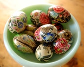 Vintage Hand Painted Wooden Eggs Vintage Miniature Hand Painted Wooden Eggs Floral Eggs Art Deco Painted Egg from The Eclectic Interior
