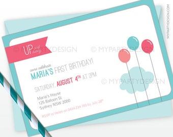 Balloon Birthday Party Invitation - Up and Away - Turquoise and Pink - PRINTABLE JPEG or PDF file