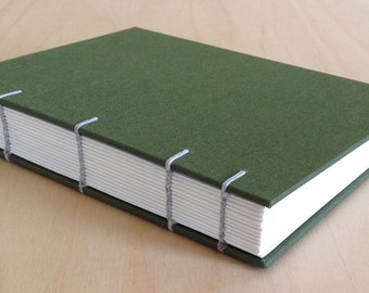 Pine green coptic stitch guest book/journal
