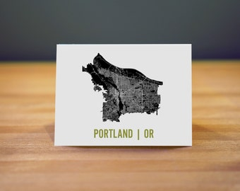 Portland Map Note Card Stationary A2