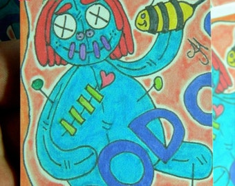 Card #1-99/99 Bumble Bee Voodoo doll. 1st of the set of 9. ACEO. ATC. Hand Drawn Prints. Collectors card. Trading card.