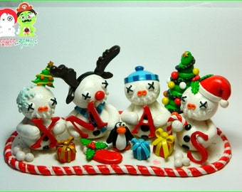 Snowman family. Large Xmas Decoration Hand Sculpted polymer clay figurines. was 38 now only 34