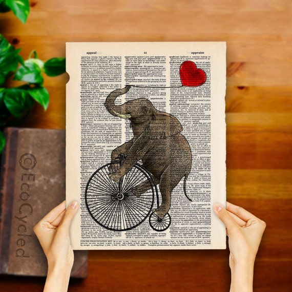 Elephant on Penny Farthing Velocipede with Red Heart Balloon on Vintage Upcycled Dictionary Art Print Art Print Bicycle bookworm gift