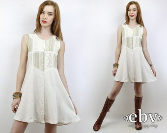 Vintage 90s Grunge Cream Lace Dress XS S 90s Grunge Dress Patchwork Dress Hippie Dress Summer Dress Hippie Wedding Dress Festival Dress