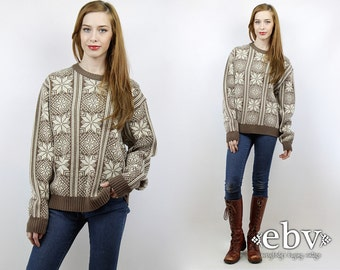 Snowflake Sweater Ski Sweater Hipster Sweater Christmas Sweater Oversized Knit Oversized Sweater Vintage 90s Brown Snowflake Jumper XL