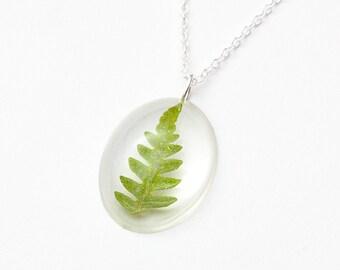 Oval Natural Forest Leaf necklace - leaf pendant, natural necklace, fern necklace, forest jewelry, natural jewellery, nature, green
