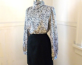 Silky 90s Secretary Blouse / Black and White Satin / High Neck / Dressy Blouses / Career Office Tunic / Work Clothes LARGE