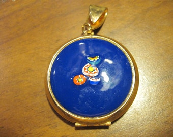 Vintage Art Glass Beautiful Blue Millifiori Gold Picture Locket REDUCED