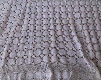 White Snowflake Crochet Bedspread