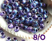 TOHO seed, size 8/0, Inside-Color Rainbow Crystal Tanzanite Lined N 181, rocailles, blue purple glass beads - 10g - S715