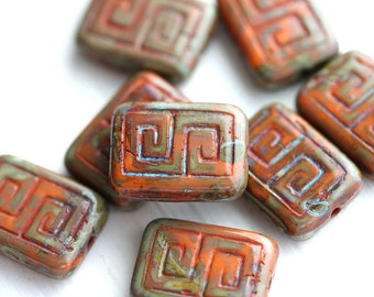 8pc Picasso Rectangle czech beads, Rustic Orange, Greek Key, Carved Aged glass beads - 12x9mm - 0574