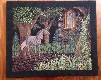 Unicorn completed cross stitch