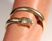 Vintage 50s Bracelet Gold Tone Bracelet Snake Bracelet Wrap Bracelet Large Snake Head Bracelet French Jewelry